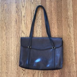 Vintage Coach brown leather laptop bag tote